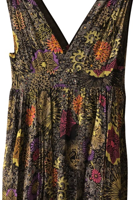 Matthew Williamson Black with Multicolored Flowers and Light Gold Sequence. Long Formal Dress Size 8 (M) Matthew Williamson Black with Multicolored Flowers and Light Gold Sequence. Long Formal Dress Size 8 (M) Image 1