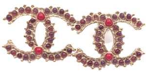 Chanel Chanel Gold CC Spanish Red Stone Piercing Earrings