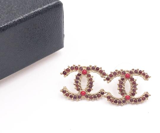 Chanel Chanel Gold CC Spanish Red Stone Piercing Earrings Image 1