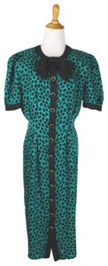 Adrianna Papell 1930s Style Pussybow Neck Short Sleeves Shoulder Pads Dress