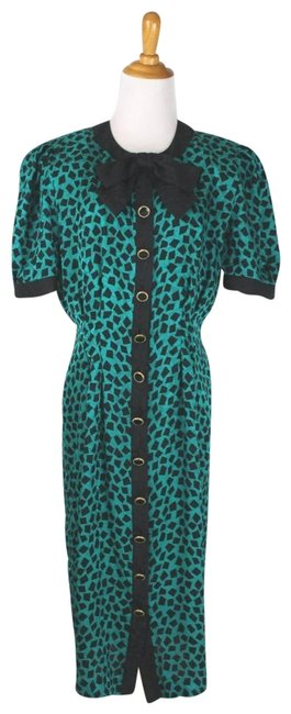 Adrianna Papell Green and Black Vintage Silk Bow-neck Mid-length Work/Office Dress Size 8 (M) Adrianna Papell Green and Black Vintage Silk Bow-neck Mid-length Work/Office Dress Size 8 (M) Image 1