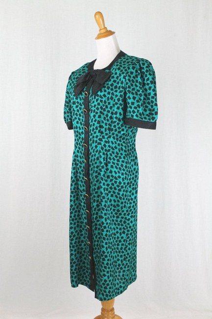 Adrianna Papell 1930s Style Pussybow Neck Short Sleeves Shoulder Pads Dress Image 1