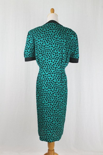 Adrianna Papell 1930s Style Pussybow Neck Short Sleeves Shoulder Pads Dress Image 3