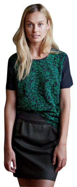 J.Crew Navy And Green Lace Collection Blouse Size 6 (S) J.Crew Navy And Green Lace Collection Blouse Size 6 (S) Image 1