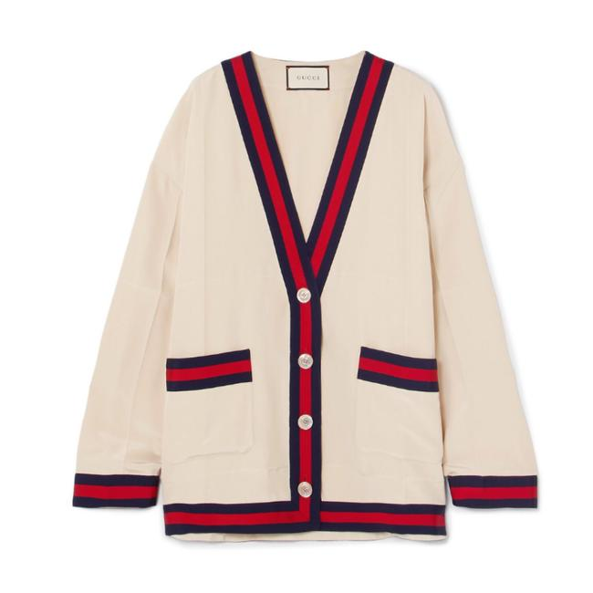 Preload https://img-static.tradesy.com/item/24845982/gucci-oversized-grosgrain-trimmed-silk-crep-de-chine-cardigan-size-0-xs-0-0-650-650.jpg