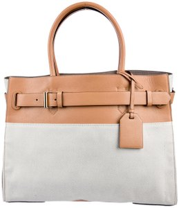 86f377ee04 Reed Krakoff Rk40l White Tote in Grey Canvas and Natural