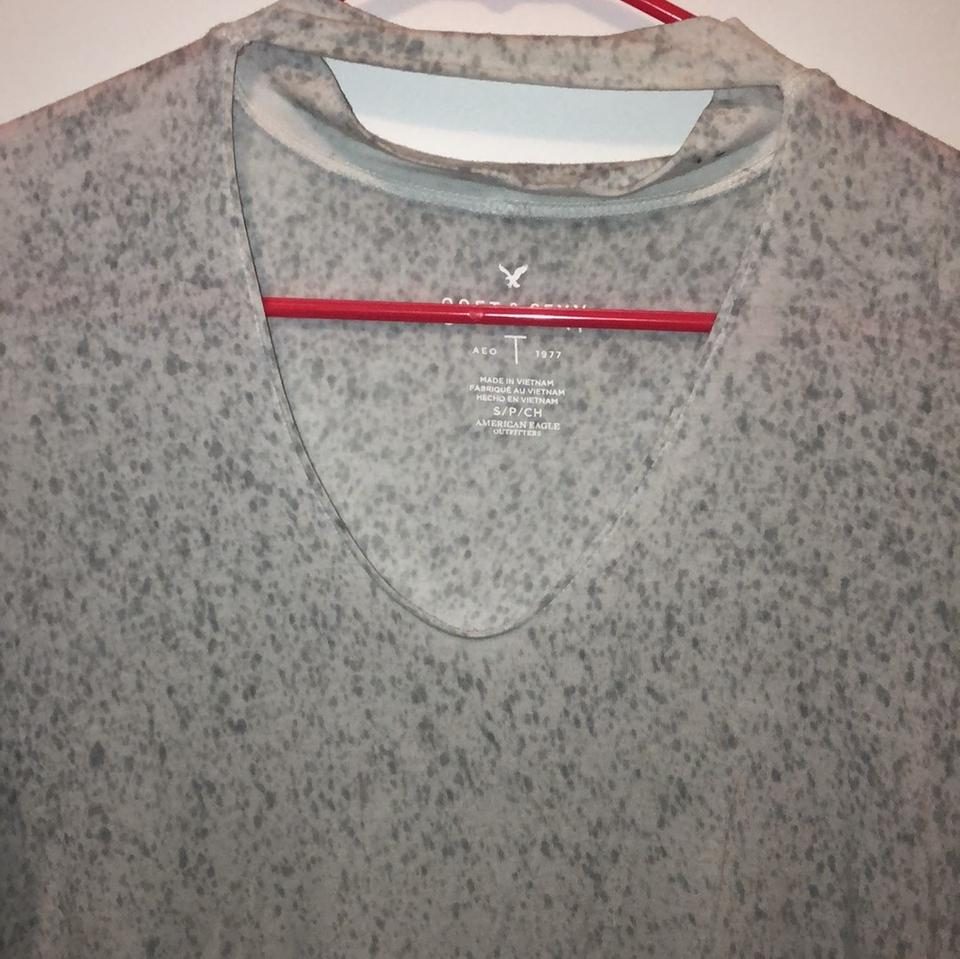 41355130f4375 American Eagle Outfitters White with Gray Splatter None Tee Shirt ...