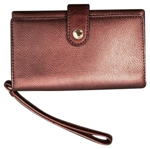Coach Maroon Shiny Button Wristlet, Card Holder