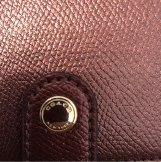 Coach Maroon Shiny Button Wristlet, Card Holder Image 1