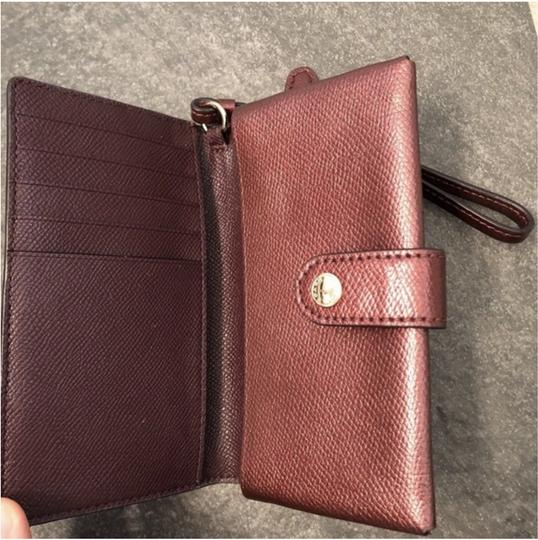 Coach Maroon Shiny Button Wristlet, Card Holder Image 2