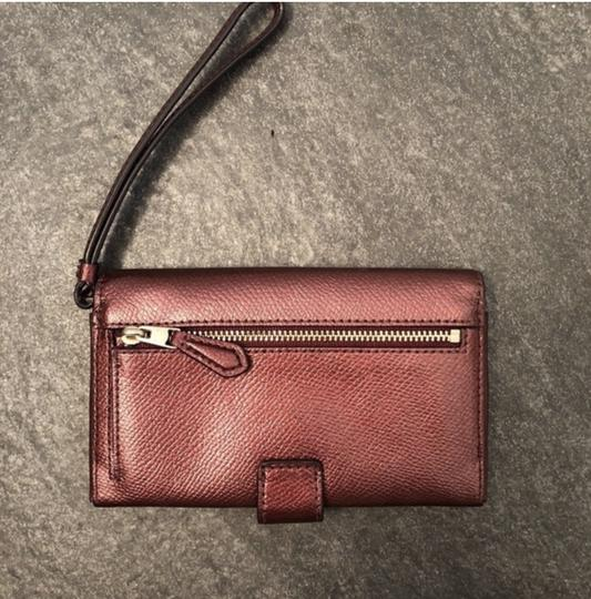 Coach Maroon Shiny Button Wristlet, Card Holder Image 3