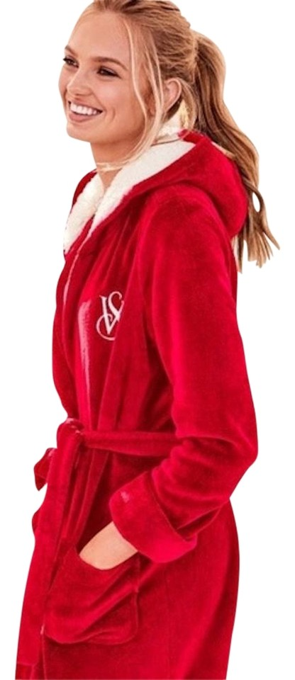 Victoria s Secret Red White New The Cozy Hooded Short Robe Xs S ... 54b9305d7