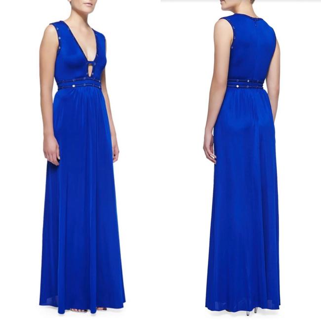 Blue Maxi Dress by BCBGMAXAZRIA Royal Maxi Long Gown Cut-out Image 3