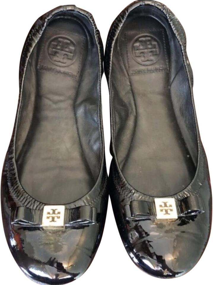 c6153140f34 Tory Burch Black Eddie Logo Bow Ballerina Flats Size US 7 Regular (M ...