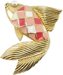Valentino Couture Vintage Pink Enamel Fish Pin Brooch
