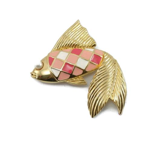 Valentino Couture Vintage Pink Enamel Fish Pin Brooch Image 1