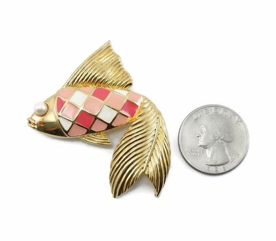 Valentino Couture Vintage Pink Enamel Fish Pin Brooch Image 3