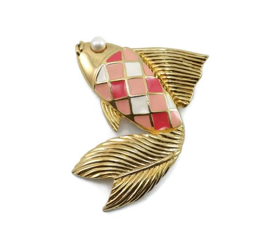 Valentino Couture Vintage Pink Enamel Fish Pin Brooch Image 4