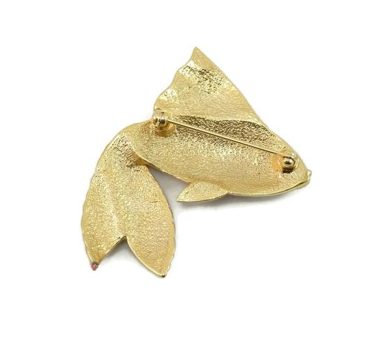 Valentino Couture Vintage Pink Enamel Fish Pin Brooch Image 5
