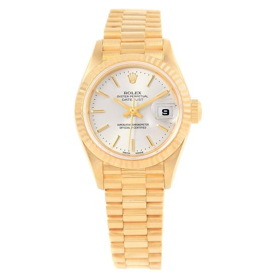 Rolex Rolex President Datejust 18k Yellow Gold Silver Dial Ladies Watch 7917 Image 1