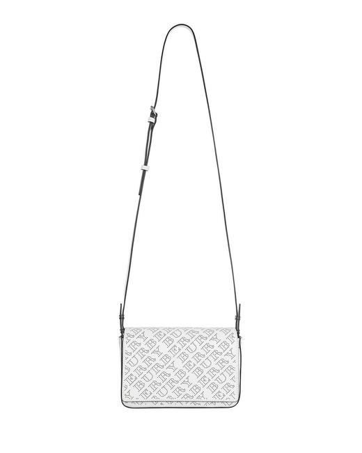 Burberry Hampshire White Logo Perforated Leather Cross Body Bag Burberry Hampshire White Logo Perforated Leather Cross Body Bag Image 1