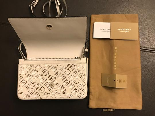 Burberry Hampshire Perforated Leather Detachable Strap Black Logo Cross Body Bag Image 7
