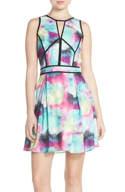 adelyn rae Colored Abstract Pastel Fit And Flare Mini Dress Image 3