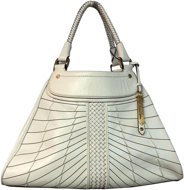 Cole Haan Woven Creme Leather Satchel Cole Haan Woven Creme Leather Satchel Image 1