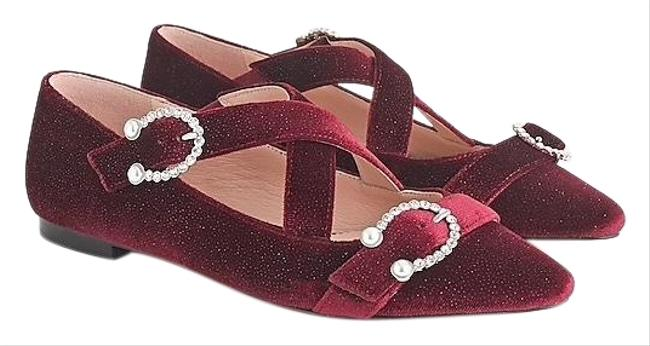 Item - Red Marina Crisscross Buckle Strap In Metallic Velvet Flats Size US 8 Regular (M, B)