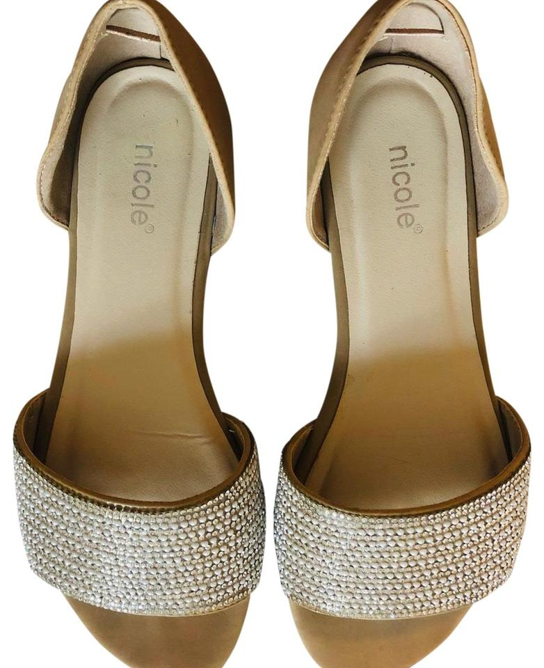 22bc0c4ad9c0e8 Nicole Beige With Intact Complete Rhinestone and Pearls Flats Size ...