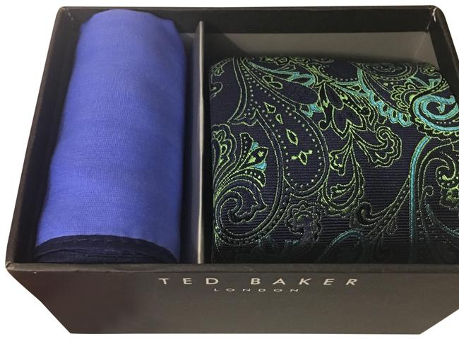Ted Baker Blue and Green Tie Set Silk Soie Scarf/Wrap Ted Baker Blue and Green Tie Set Silk Soie Scarf/Wrap Image 1