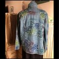 Chico's Blue/Coral/Aqua Womens Jean Jacket Image 1