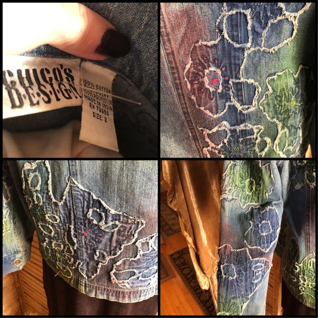 Chico's Blue/Coral/Aqua Womens Jean Jacket Image 3