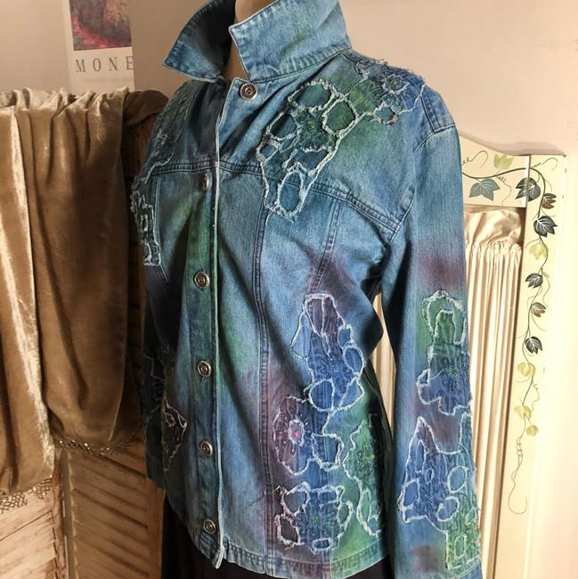 Chico's Blue/Coral/Aqua Womens Jean Jacket Image 4