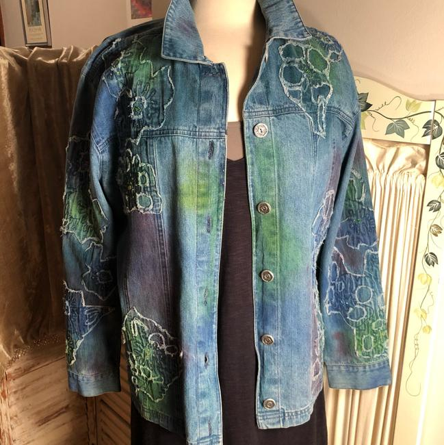 Chico's Blue/Coral/Aqua Womens Jean Jacket Image 9