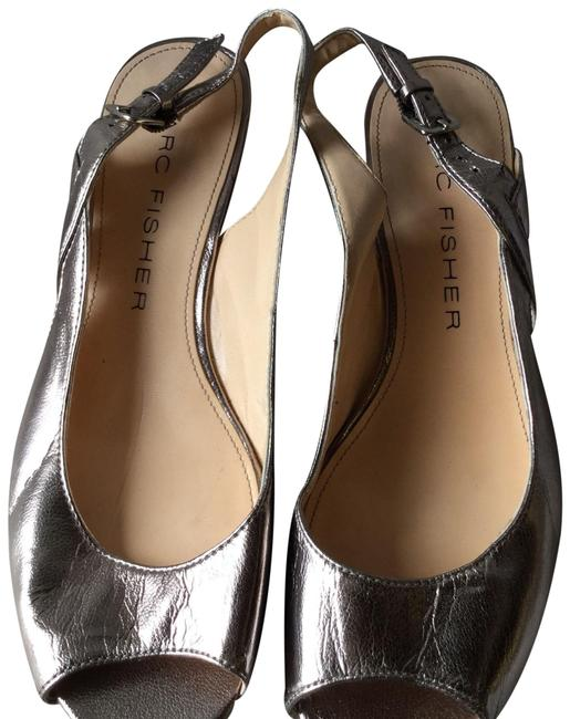 Marc Fisher Silver Metallic Slingback Wedges Size US 8 Regular (M, B) Marc Fisher Silver Metallic Slingback Wedges Size US 8 Regular (M, B) Image 1