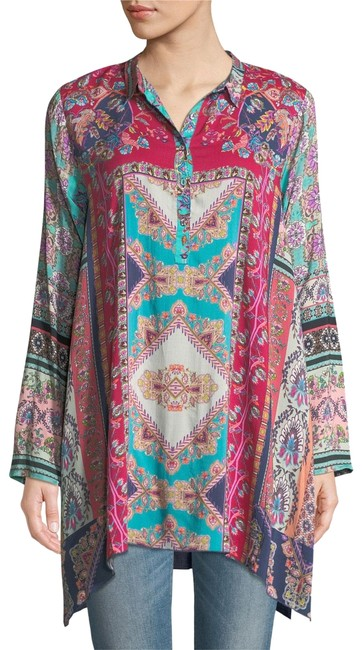 Preload https://img-static.tradesy.com/item/24846617/johnny-was-multicolor-meco-print-long-sleeve-spread-collar-tunic-blouse-size-10-m-0-1-650-650.jpg