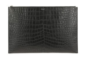 Saint Laurent Calfskin Leather Silver Hardware Black Clutch