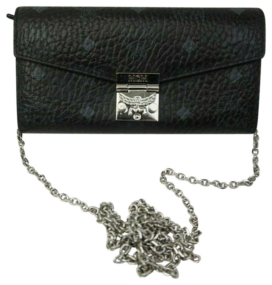 d9a81eff08 MCM Women s Patricia Visetos Large Wallet On A Chain Two-fold Black ...