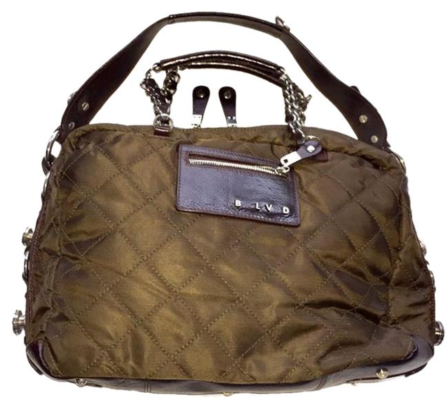 Item - Large Quilted/Leather Brown Nylon Quilted/Leather Satchel