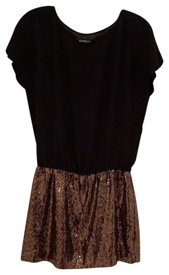 a82a9fdb102 Express Black and Gold Sequin Bottom Short Cocktail Dress Size 2 (XS ...