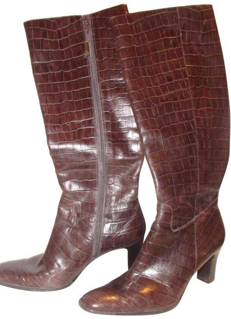 Item - Brown Crocodile Embossed Leather Boots/Booties Size US 7 Regular (M, B)