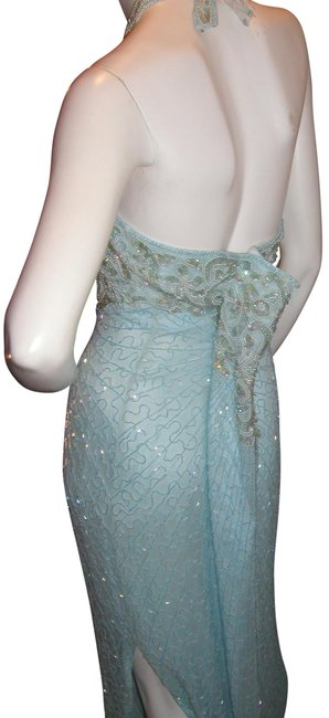 Just Female Sequin Beads Halter Open Back Split Dress Image 4