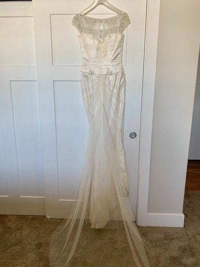 Augusta Jones White Silk Exquisite Detail Formal Wedding Dress Size 4 (S) Image 2