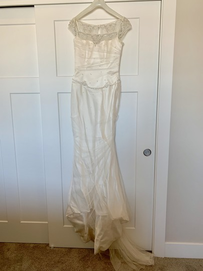 Augusta Jones White Silk Exquisite Detail Formal Wedding Dress Size 4 (S) Image 3