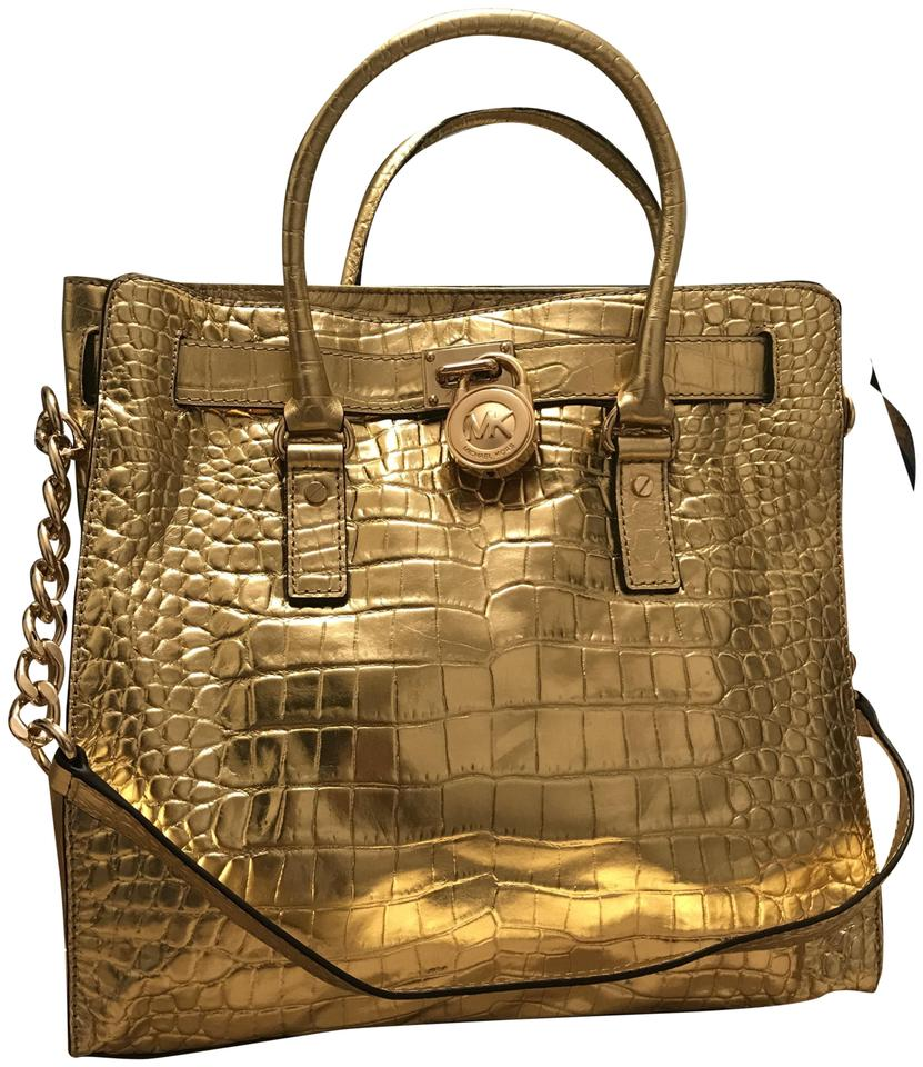 8c66fd55c9ab Michael Kors Hamilton Rare North South Crocodile Large Satchel Gold Croco  Embossed Leather Tote