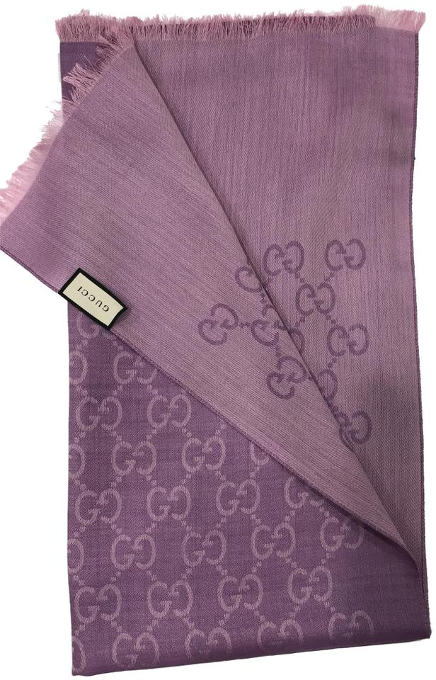 321a483707 Gucci Purple New Women's Wool Silk Gg Shawl 45cm X 180cm Scarf/Wrap