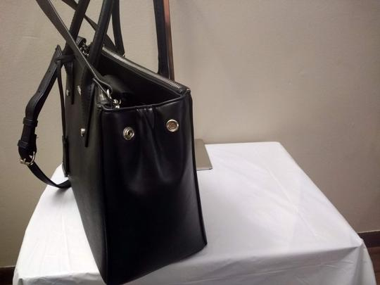 New York & Company Removable Strap Faux Leather Side Clasps Magnetic Flap Satchel in Black Image 1