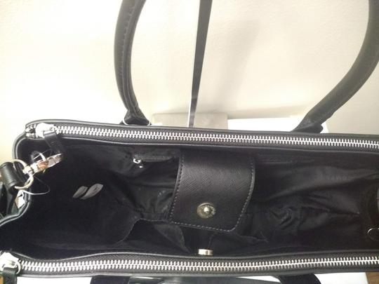 New York & Company Removable Strap Faux Leather Side Clasps Magnetic Flap Satchel in Black Image 2