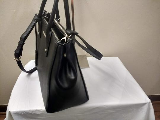 New York & Company Removable Strap Faux Leather Side Clasps Magnetic Flap Satchel in Black Image 3